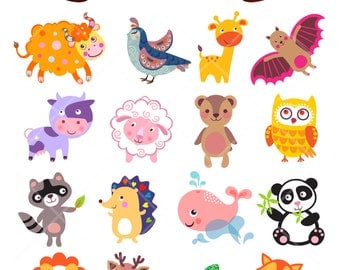 Cute Funny Animals Digital Clip Art Nursery Decor Baby Shower Embellishments Printable Clipart Instant Download Commercial Use