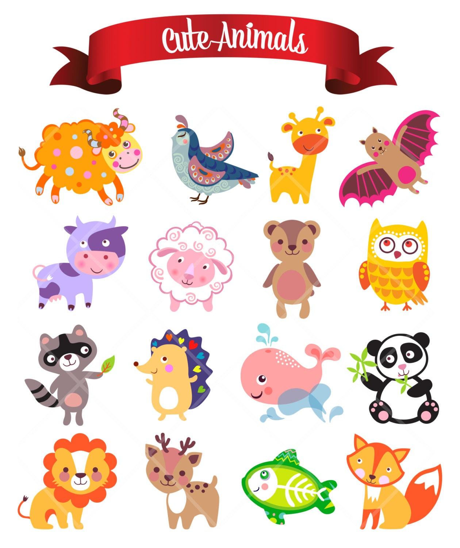 Cute funny animals digital clip art nursery decor baby for Room decor embellishment art