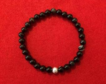 Men's Black Agate Beaded Bracelet