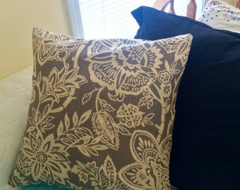 Floral Envelope Pillow Cover 18x18- Gray