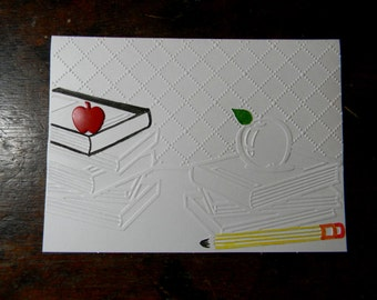 ON SALE  - Teacher Appreciation Embossed Greeting Card, Teacher Appreciation Card, Teacher Thank You Card, Blank Inside Option, Handmade