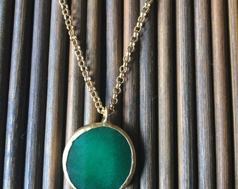 Round Jade Pendant (21mm), and Necklace