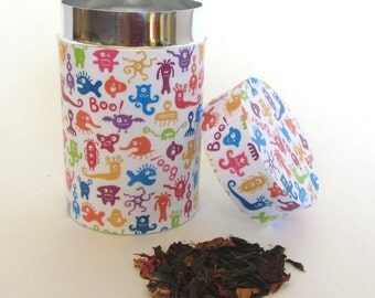 Tea tin - colorful monsters pattern - Perfect as a tea canister and for loose leaf tea storage