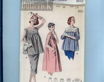 764e6e295983e Vintage 1950s Women's Maternity Dress/Skirt/Top Pattern Butterick 8015 Size  14 New FF
