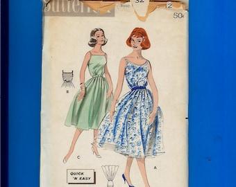 Vintage 1950s Misses' Full Skirt Garden Dress Pattern Butterick 8601 Size 12 New FF