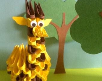 Cute 3D Origami Giraffe