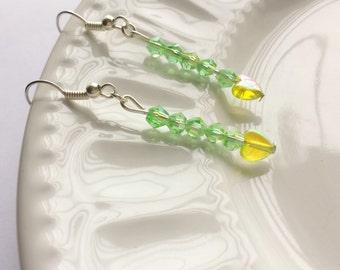 Green crystal earrings, Green heart earrings, Green sparkly earrings, Green earrings, Sparkly crystal jewelry, Love heart jewelry
