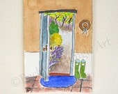 ACEO country house doorway mudroom original watercolor painting english garden mini art 2.5 x 3.5 inch ATC