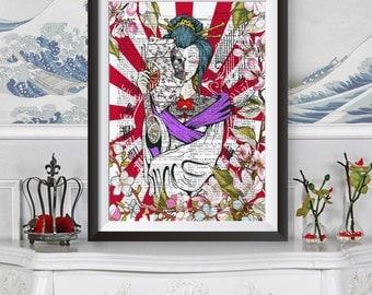 Japanese Tattooed Geisha poster print, Wall decor tattoo girl, Dictionary book page background artwork, Original illustration