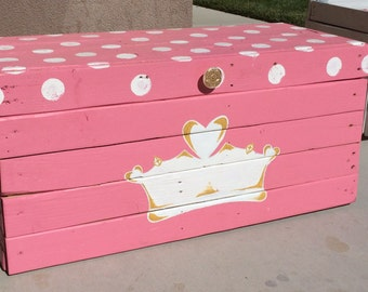 Custom Toy Box-Princess Toy Box-Princess Theme-Large Custom Toy Box-Girl Toy Box-Hope Chest