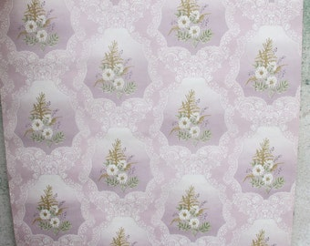 Vintage Wallpaper by the YARD, Soviet Floral Lilac Wall paper, Retro WallPaper, Art Craft, Russian Design