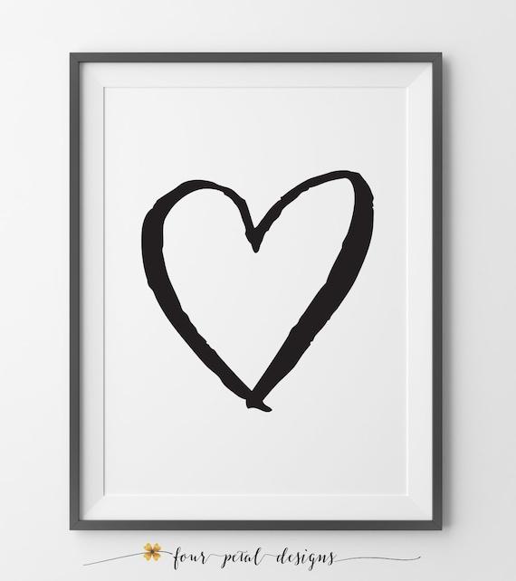 Calligraphy heart art print love by
