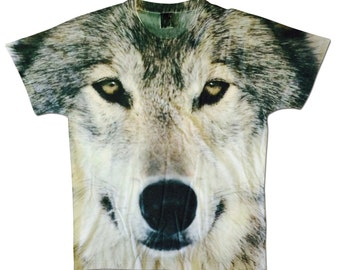 All Over Print Wolf Graphic T Shirt Face Wolves Animal Sublimation Hipster Trendy Cool Festival Fashion