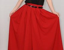 Red palazzo pant Fashion skirt pants Chiffon pants