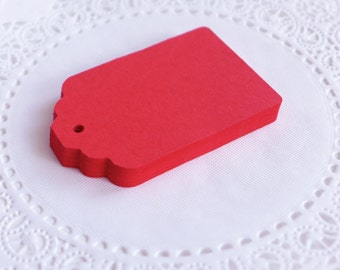 Large Scallop Top Tags, Red Scallop Tags, Cardstock Hang Tags, Wedding Favor Tags, Gift Tags