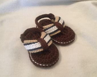 Crocheted baby flip flops 0-3 months