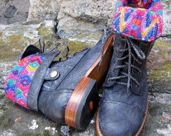 Handcrafted leather ankle boots with Guatemalan huipil cloth