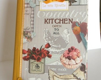 BOOK Cookbook entitled with symbols-with so many pages to write all your recipes-handmade-artifacts