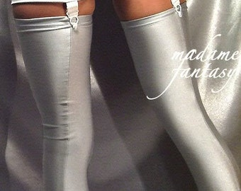 Spandex shiny silver stockings
