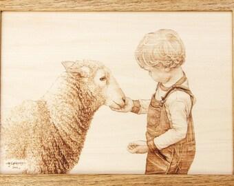 Feeding the Sheep Woodburning Art