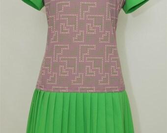 60's dress- vintage Dress - 60's turtleneck short sleeved dress - 1960's Dress - vintage dress - 60s dress