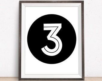 Number 3, Three Print, Black and White Nursery, 3 Print, Printable Art, Black And White Print, Nursery Art, Childrens Room Art