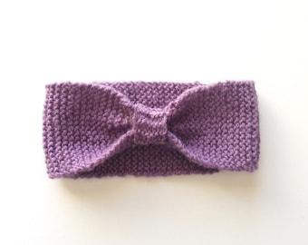 Purple knitted headband, baby, toddler, kids, knitted bow headband, kids accessories, hair accessories