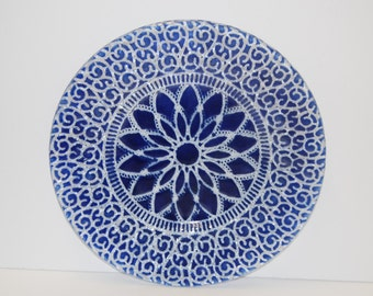 Fused art glass plate with DOILY DESIGN in BLUE