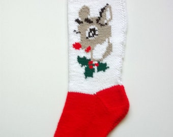 Reindeer Hand-Knit Christmas Stocking