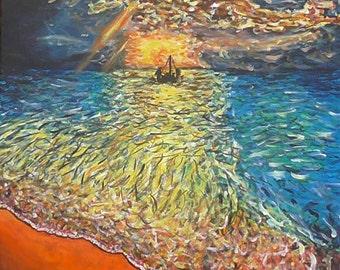 Ship At Sea : Original art. Seascape ocean painting. Acrylic 60x50cm
