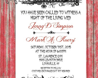 Halloween Wedding Invites-Printable, Gothic Wedding Invites