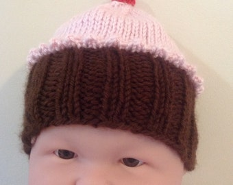 Baby Cupcake Knit Hat with Frosting and Cherry