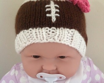 Baby Football Hat with Laces Detail and Bow