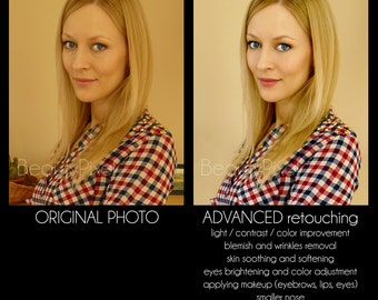 3 photos / Photo editing ADVANCED service / Custom Portrait retouching / Photoshop editing / Digital makeup / Makeover / Email delivery