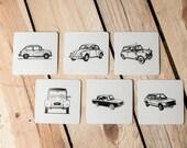 Pack 24 Letterpress Classic Cars Coasters