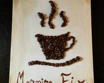 Morning fix - coffee mug made out of coffee beans on a 12' x 9' canvas