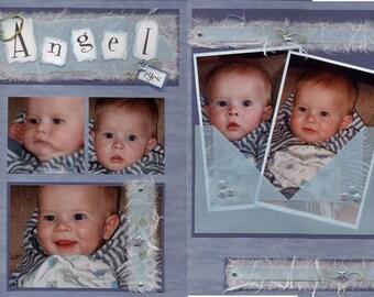 Angel Eyes scrapbook layout kit - baby boy or girl