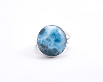 Full Moon Circle Larimar Silver Ring