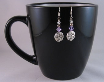 Purple and white crystal earrings