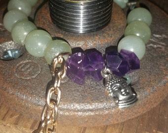 Green jade stack bracelet