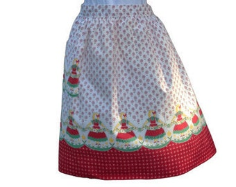 Vintage Ladies Apron - Red print with little dutch girls (#7)