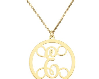"""Initials monogram necklace - 1"""" any initial silver monogram necklace in 18k yellow gold plated 925 sterling silver"""