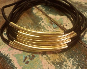 Black Leather Cord Bangles with Gold Metal Tubes, Set of 6 Bangles