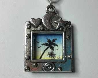 Silhouette Morning Palm Tree - Original Mini Watercolor Painting Necklace