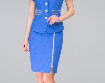 866 Women's Summer suit  3 subject: jacket, skirt and top.