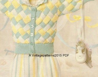 """childs cardigan Knitting Pattern  14-20"""" DK - PDF Download"""