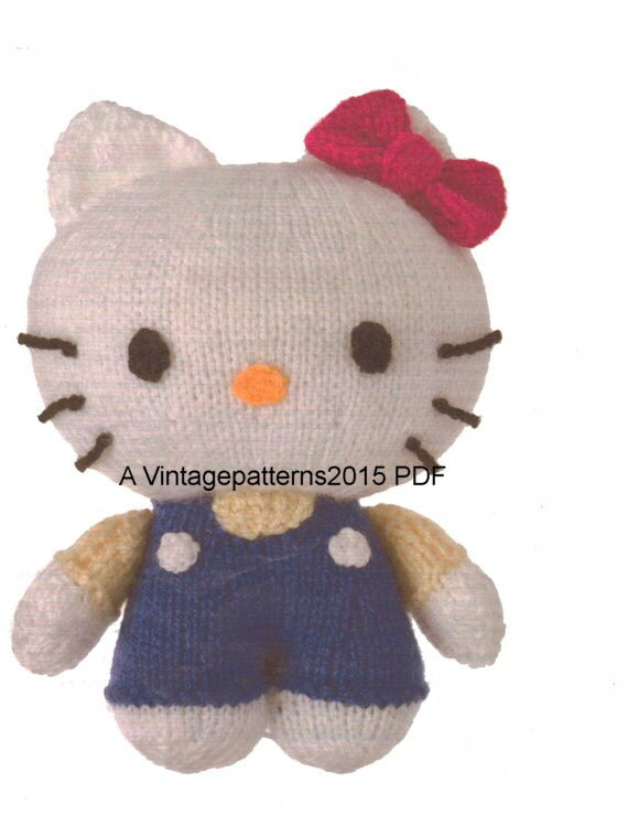 Knitting Pattern Hello Kitty : Hello Kitty Toy Knitting Pattern PDF by VintagePatterns2015