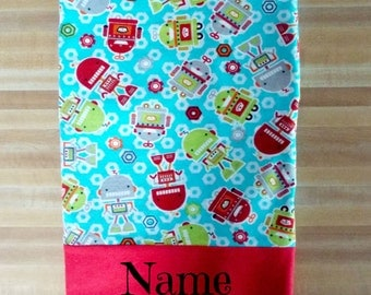 For the Boys, Cute Robot Pillowcase, Boys Pillowcase, Soft Flannel Pillowcase, Embroidered, Monogrammed, Personalized