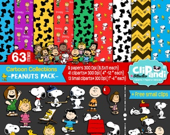 INSTANTDOWNLOAD ||Snoopy /Peanuts Papers-Clipart set [[ 63 ITEMS ]] -