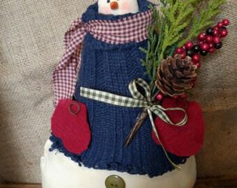 Primitive Winter Snowman-Holiday/ Christmas Decor